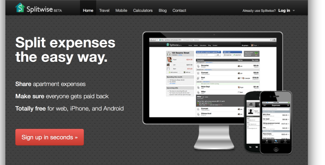 splitwise homepage with red sign up button