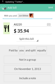 Splitwise Android v3 Add Bill screen