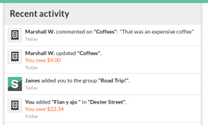 Recent activity feed, on web.